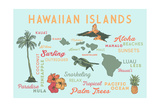 Hawaiian Islands (Version 2) - Typography and Icons Poster by  Lantern Press
