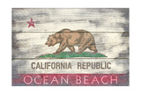 Ocean Beach, California - State Flag - Barnwood Painting Posters by  Lantern Press