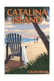 Catalina Island, California - Adirondack Chairs and Sunset Poster by  Lantern Press