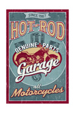 Hot Rod Garage - Motorcycles - Vintage Sign Prints by  Lantern Press