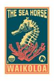 Waikoloa, Hawaii - Seahorse Woodblock (Blue and Pink) Posters by  Lantern Press