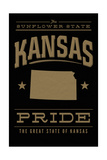 Kansas State Pride - Gold on Black Prints by  Lantern Press