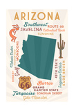 Arizona - Typography and Icons Prints by  Lantern Press