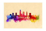 Cleveland, Ohio - Skyline Abstract Print by  Lantern Press