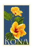 Kona, Hawaii - Yellow Hibiscus Prints by  Lantern Press