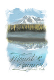 Mount Rainier - Reflection Lake - Watercolor Posters by  Lantern Press