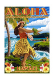 Hawaii - Aloha - Hula Girl on Coast (Flower Border) Posters by  Lantern Press