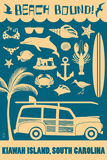 Kiawah Island, South Carolina (2) - Coastal Icons Prints by  Lantern Press