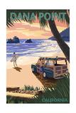 Dana Point, California - Woody on Beach (Palm Tree Version) Print by  Lantern Press
