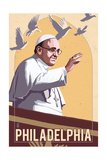Philadelphia, Pennsylvania - Pope and Doves - Lithography Style Posters by  Lantern Press