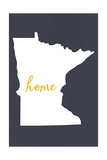 Minnesota - Home State - White on Gray Poster by  Lantern Press