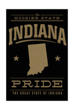 Indiana State Pride - Gold on Black Prints by  Lantern Press