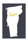 Vermont - Home State - White on Gray Prints by  Lantern Press