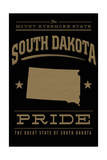 South Dakota State Pride - Gold on Black Art by  Lantern Press