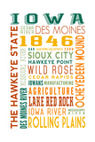 Iowa - Typography Posters by  Lantern Press