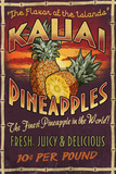 Kauai, Hawaii - PIneapple Vintage Sign Prints by  Lantern Press