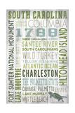 South Carolina - Barnwood Typography Kunstdrucke von  Lantern Press