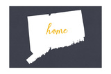 Connecticut - Home State - White on Gray Prints by  Lantern Press