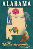 Birmingham, Alabama - State Icons Prints by  Lantern Press