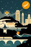 Minneapolis, Minnesota - Retro Skyline (no text) Posters by  Lantern Press