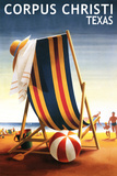 Corpus Christi, Texas - Beach Chair and Ball Posters by  Lantern Press