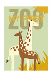 My First Zoo - Giraffe - Yellow Print by  Lantern Press