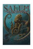 Salem, Massachusetts - Octopus and Submersible Posters by  Lantern Press
