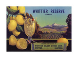 Whittier Reserve Brand - Whittier, California - Citrus Crate Label Prints by  Lantern Press