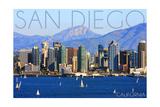 San Diego, California - Mountains and Sailboats Plakater af  Lantern Press