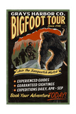 Grays Harbor Co. - Bigfoot Tours - Vintage Sign Posters by  Lantern Press