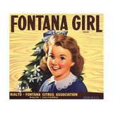 Fontana Girl Brand - Rialto, California - Citrus Crate Label Prints by  Lantern Press