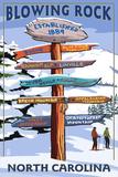 Blowing Rock, North Carolina - Ski Signpost Prints by  Lantern Press