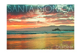 Santa Monica, California - Pier at Sunset Prints by  Lantern Press