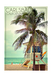 Carlsbad, California - Lifeguard Shack and Palm Posters by  Lantern Press