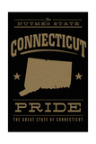 Connecticut State Pride - Gold on Black Art by  Lantern Press