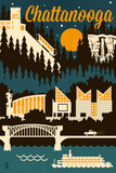 Chattanooga, Tennessee - Retro Skyline Posters by  Lantern Press