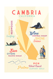 Cambria, California - Typography and Icons Print by  Lantern Press