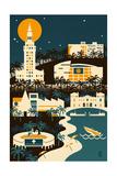 Miami, Florida - Retro Skyline (no text) Art by  Lantern Press