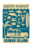 Kiawah Island, South Carolina - Coastal Icons Prints by  Lantern Press