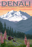 Denali, Alaska - North Americas Tallest Peak - Bears and Spring Flowers Prints by  Lantern Press
