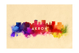 Akron, Ohio - Skyline Abstract Prints by  Lantern Press