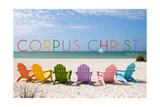 Corpus Christi, Texas - Colorful Beach Chairs Art by  Lantern Press