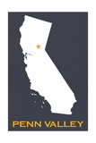 Penn Valley, California - Home State - White on Gray Prints by  Lantern Press