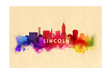 Lincoln, Nebraska - Skyline Abstract Prints by  Lantern Press