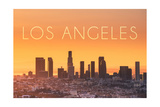 Los Angeles, California - Yellow Skyline Prints by  Lantern Press