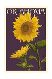 Oklahoma - Sunflowers - Letterpress Poster by  Lantern Press