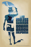 Ocean Beach, California - the Endless Summer - Surfer Cutout Scene Prints by  Lantern Press