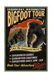 Sequim Bay, Washington - Bigfoot Tours - Vintage Sign Prints by  Lantern Press