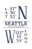Seattle, Washington - Latitude and Longitude (Blue) Print by  Lantern Press