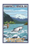 Campbell River, British Columbia, Canada - Angler Fisherman Scene Poster by  Lantern Press